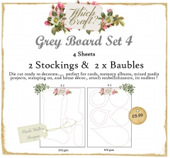 grey board set 4 baubles & santa stockings