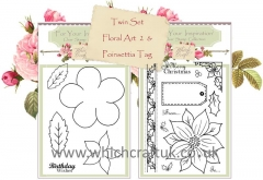 flower art 2 & poinsettia tag