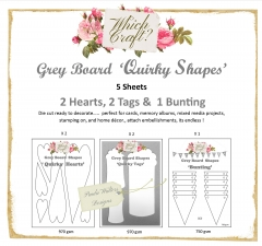 which craft? grey board set 1 - quirky hearts and tags & bunting