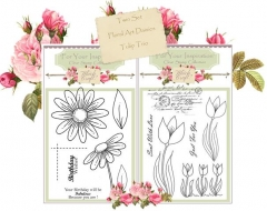 twin set floral art daises & tulip trio